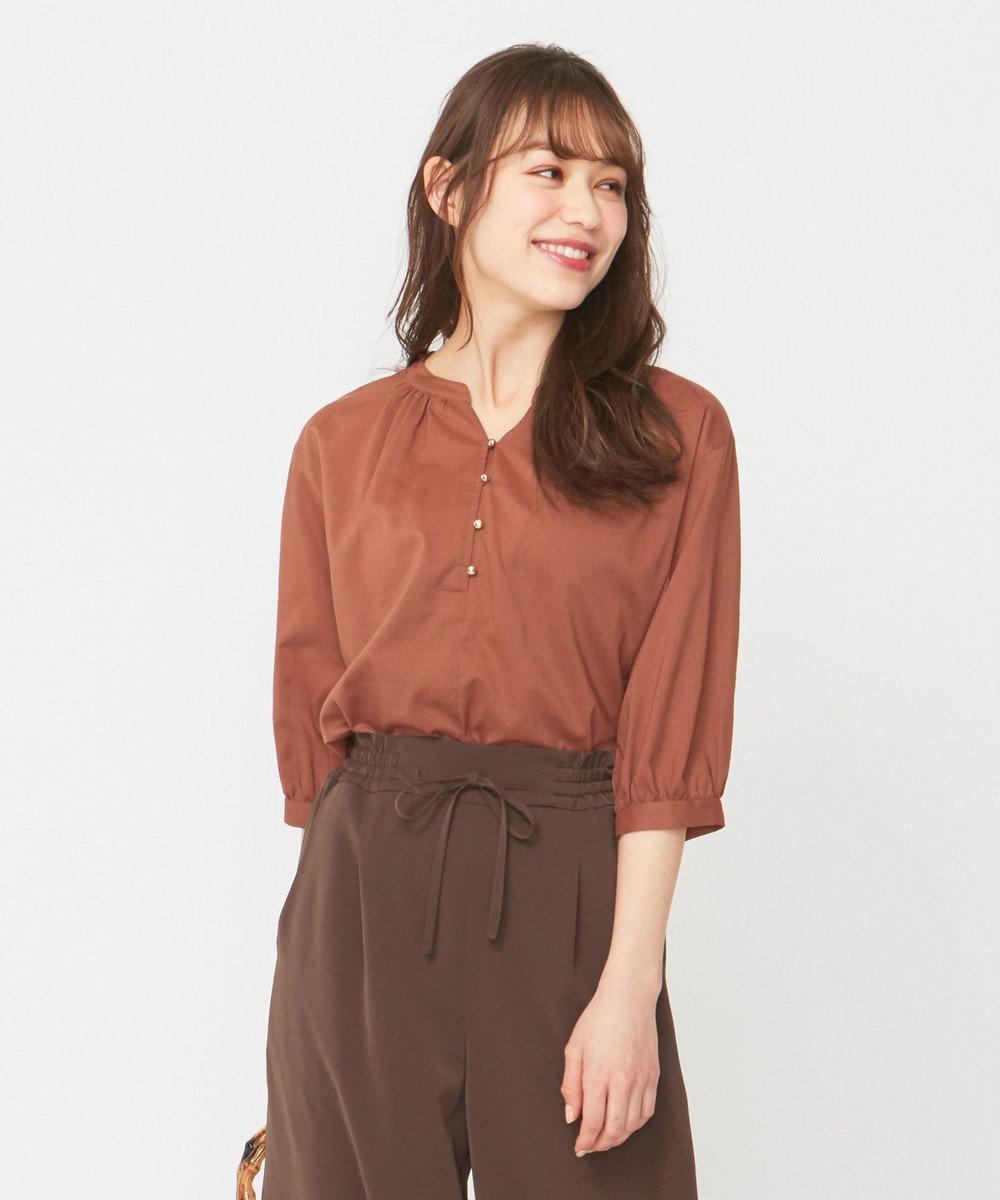 any SiS L 【洗える】キュームコアローン ブラウス テラコッタ