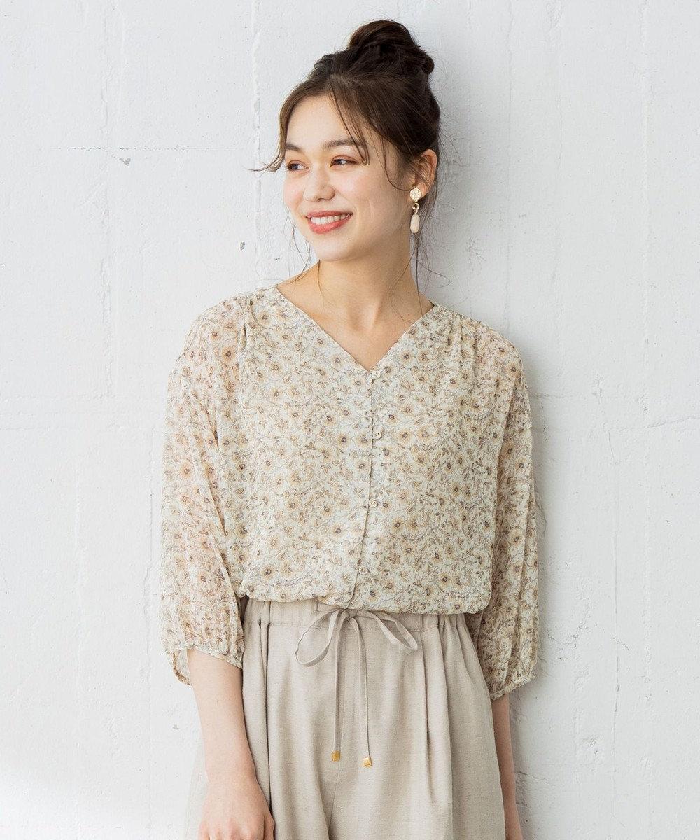 any SiS 【洗える】楊柳シフォンフラワープリント ブラウス アイボリー系