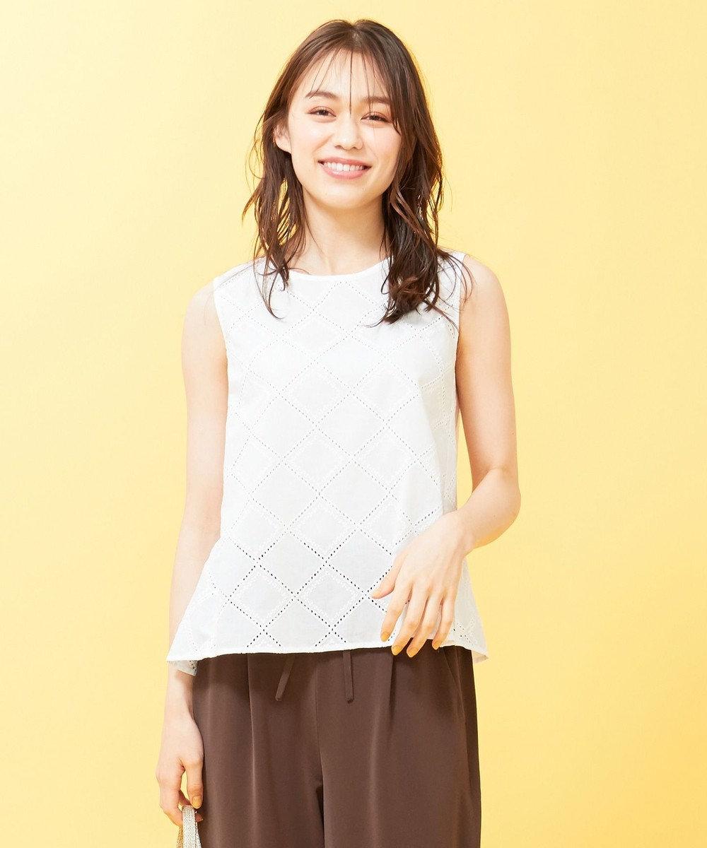 any SiS 【洗える】コットン刺繍レース ブラウス オフホワイト