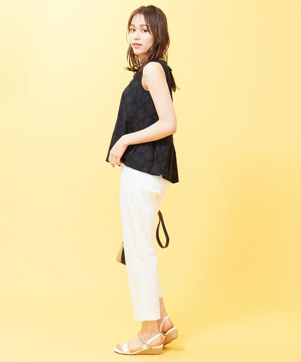 any SiS 【洗える】コットン刺繍レース ブラウス ブラック