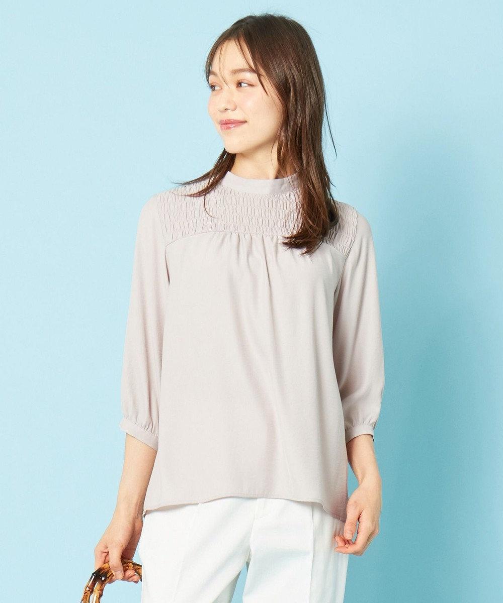 any SiS 【洗える】シャーリングポイント ブラウス ローズグレー