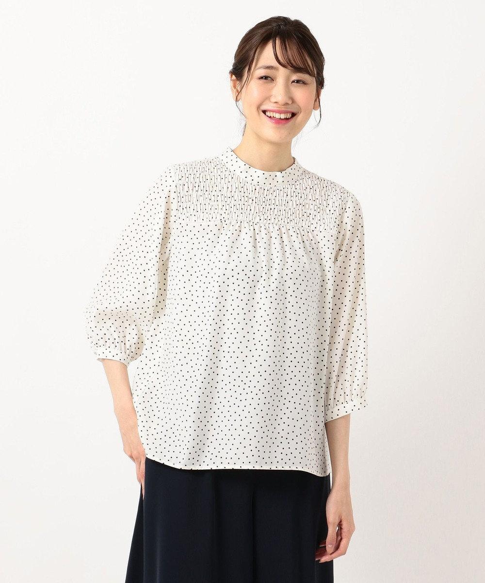any SiS 【洗える】シャーリングポイント ブラウス アイボリードット