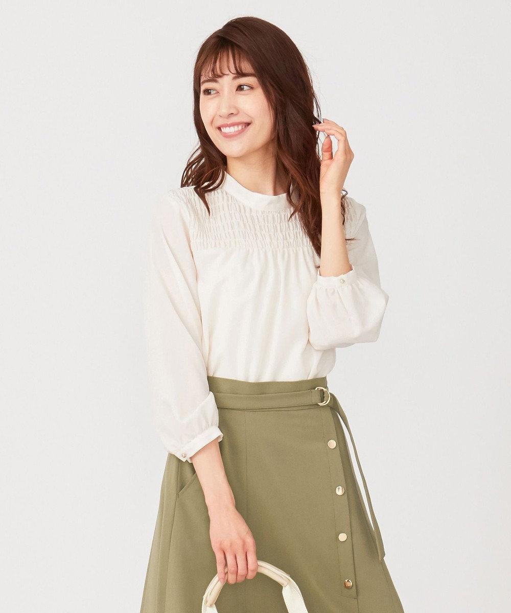 any SiS 【美人百花3月号掲載】シャーリングポイント ブラウス アイボリー