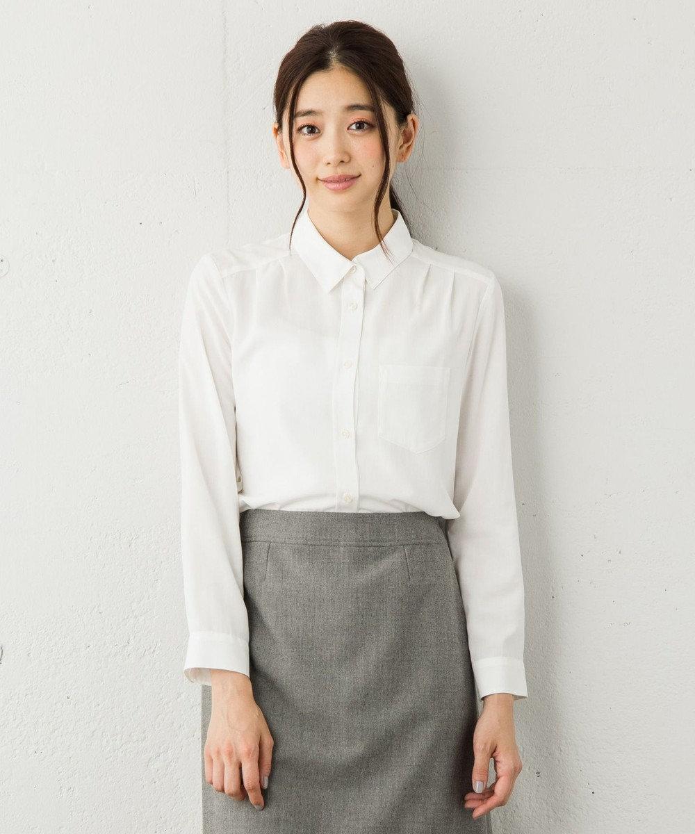 any SiS 【就活にも・洗える】R/Tenベーシック シャツ ホワイト系
