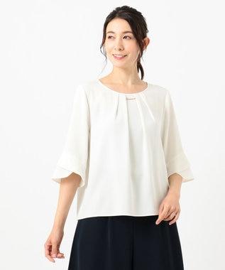 any SiS L 【美人百花5月号掲載】ラッフルフレアースリーブ ブラウス オフホワイト