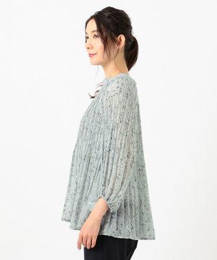 any SiS L 【洗える】シアーボタニカルフラワー ブラウス ライトグリーン系4