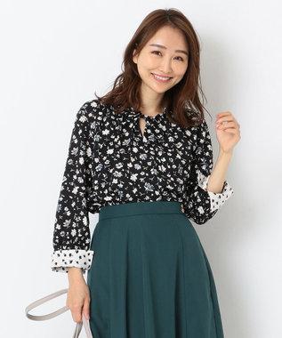 any SiS L 【洗える】MIX Pattern プリント 9分袖ブラウス ブラック系