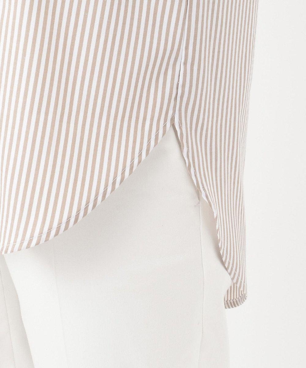 any SiS 【皺になりにくい】ストライプロング シャツ キャメル系ロンスト