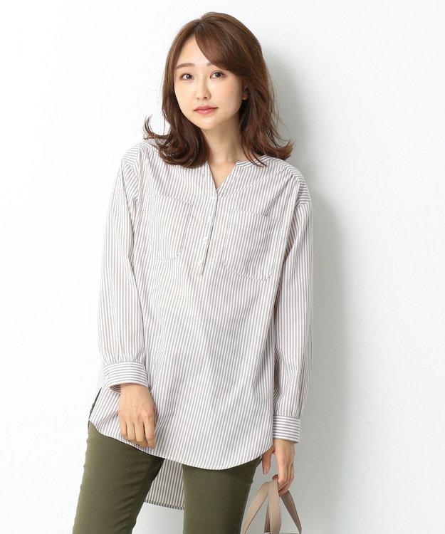 any SiS 【皺になりにくい】ストライプロング シャツ