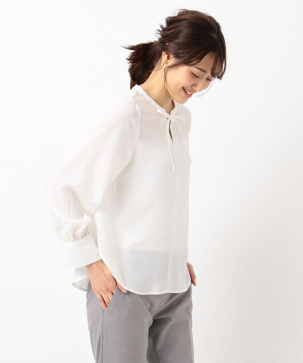 any SiS 【洗える】リボンネック ブラウス ホワイト系