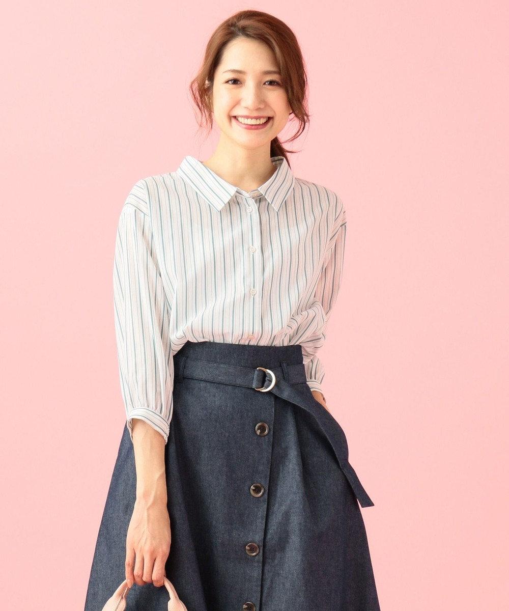 any SiS 【洗える】ニュアンスシャツ ブラウス ピーコックグリーン系1