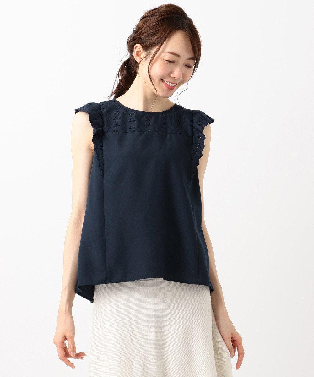 any SiS S 【洗える】サマーエンブロイダリーローンノースリーブ ブラウス ネイビー系