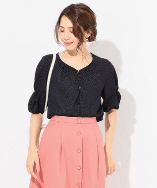any SiS L 【泉里香さん着用】プチドットジョーゼット ブラウス ネイビー系