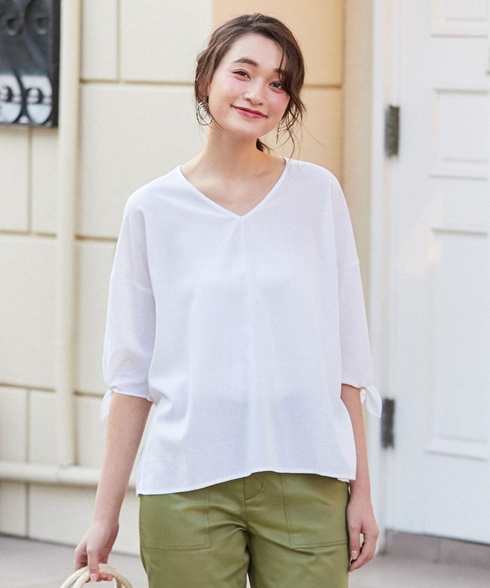 any SiS L 【洗える】L'aube リネンレーヨン ブラウス ホワイト系