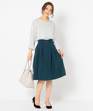 any SiS 【洗える】フェミニンスリーブフレア ブラウス ピーコックグリーン系1
