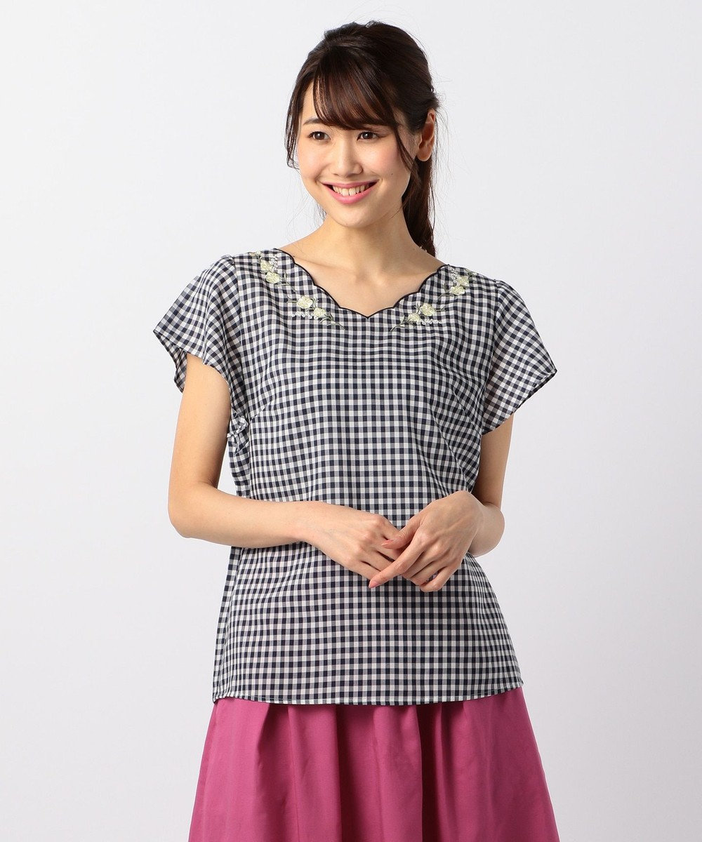 any SiS 【WEB限定色あり】テンセルライトクロス半袖 ブラウス ネイビー系2