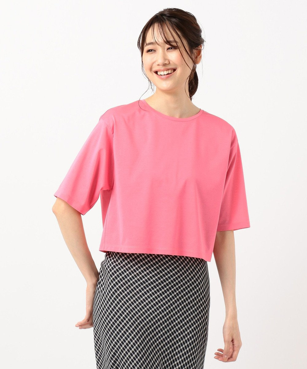 組曲 【Rythme KUMIKYOKU】ハイゲージジャージ ショート丈Tシャツ ピンク系