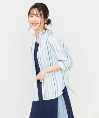 組曲 【洗える】SOMELOSマルチストライプ シャツ サックスブルー系1
