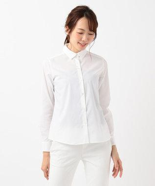 組曲 L 【リクルート対応/洗える】ストレッチシャーティング シャツ ホワイト系