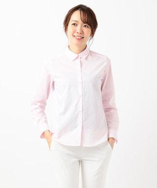 組曲 L 【リクルート対応/洗える】ストレッチシャーティング シャツ ピンク系1