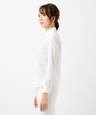 組曲 L 【リクルート対応/洗える】ストレッチシャーティング シャツ ホワイト系1