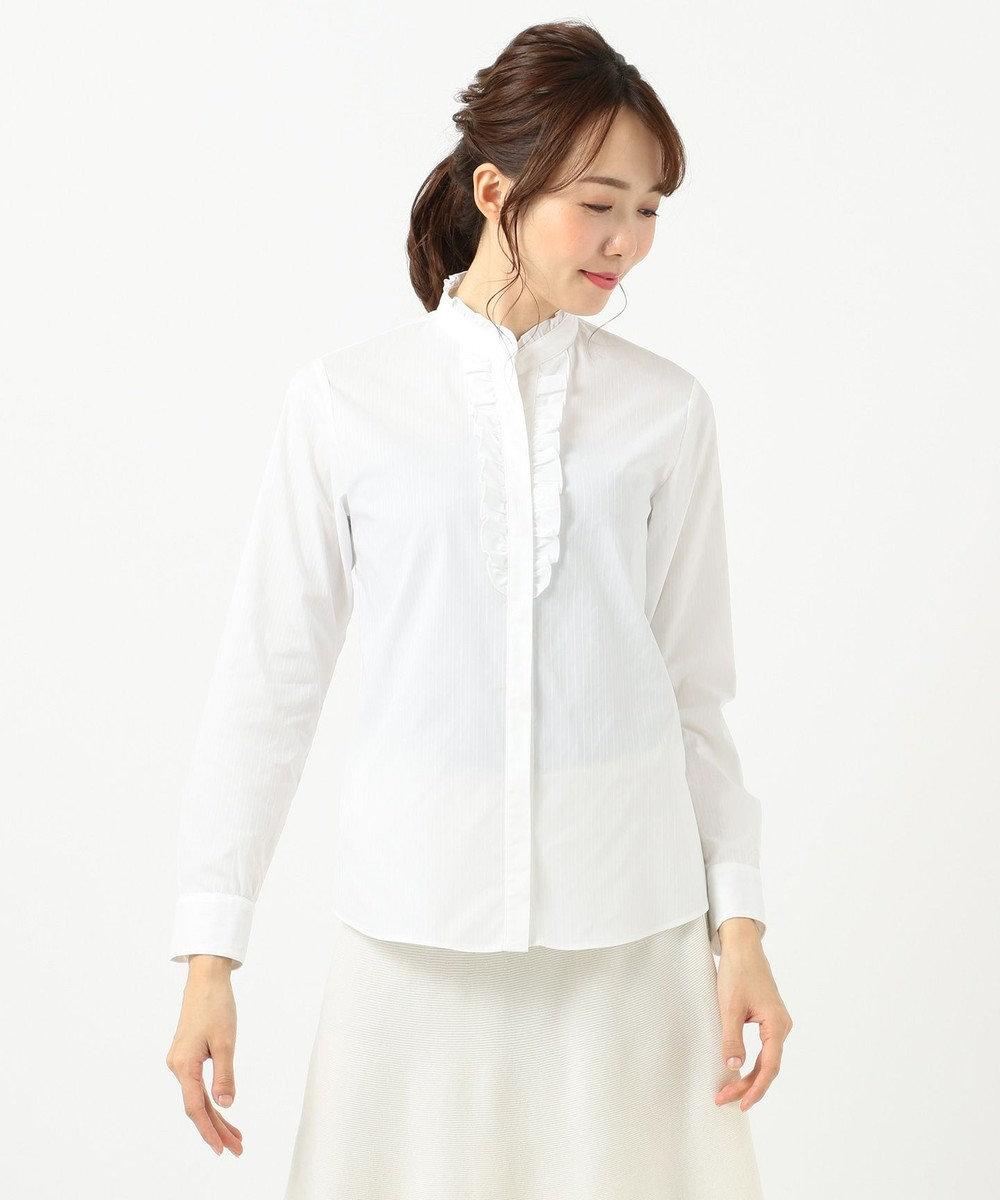組曲 【リクルート対応/洗える】ストレッチシャーティングフリルシャツ ホワイト系1