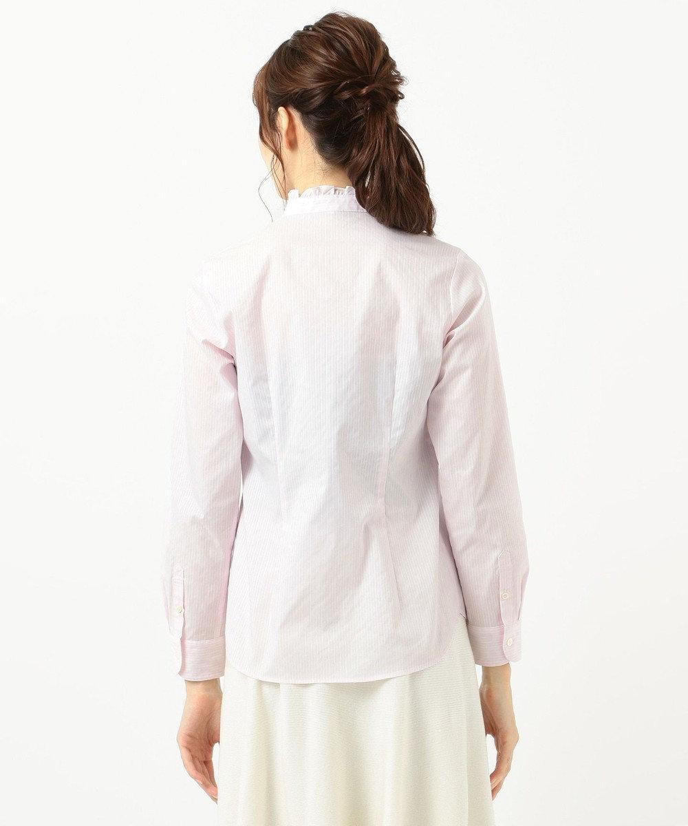 組曲 【リクルート対応/洗える】ストレッチシャーティングフリルシャツ ピンク系1