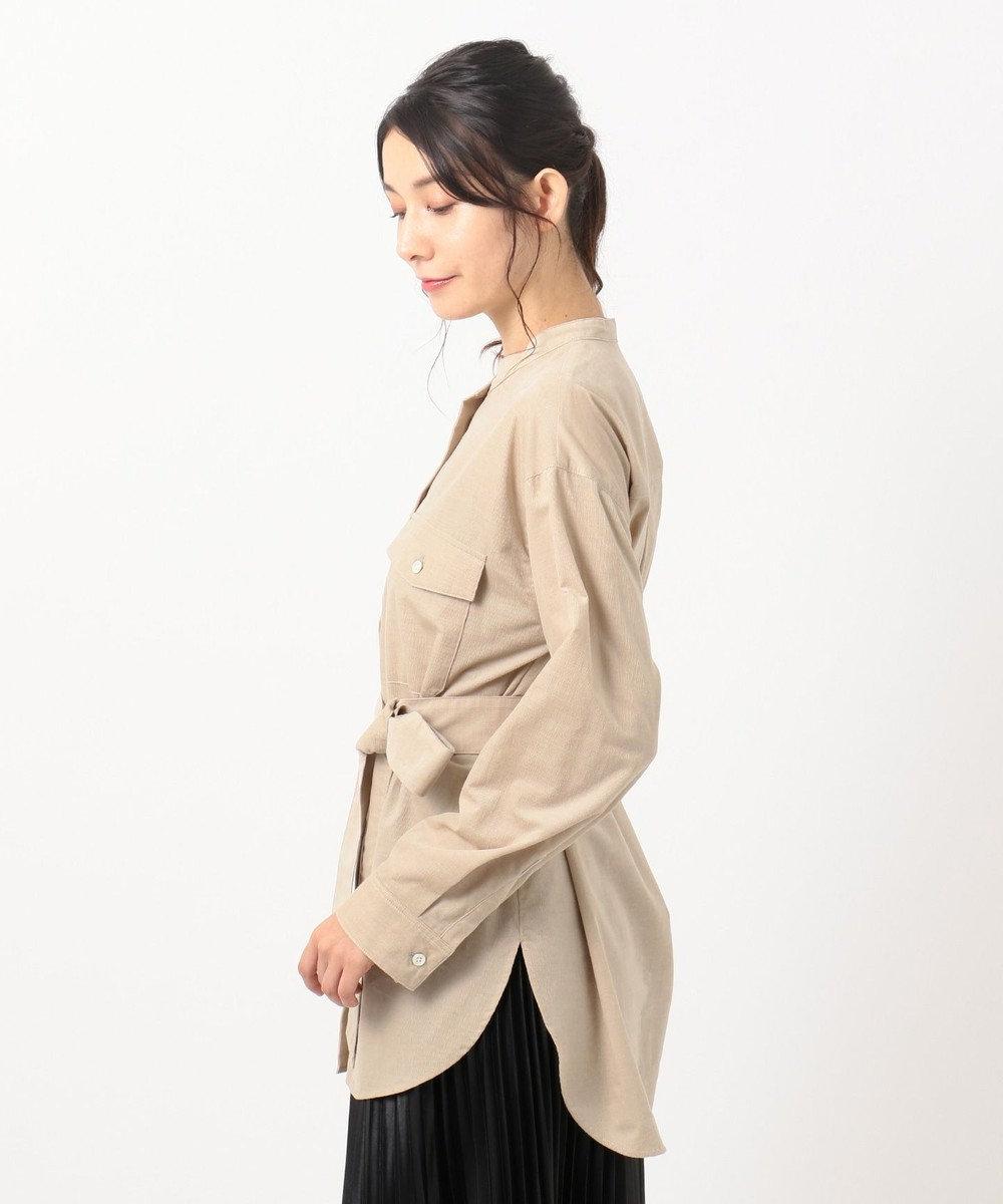 組曲 【洗える】コットンソフト コーデュロイ シャツ ベージュ系