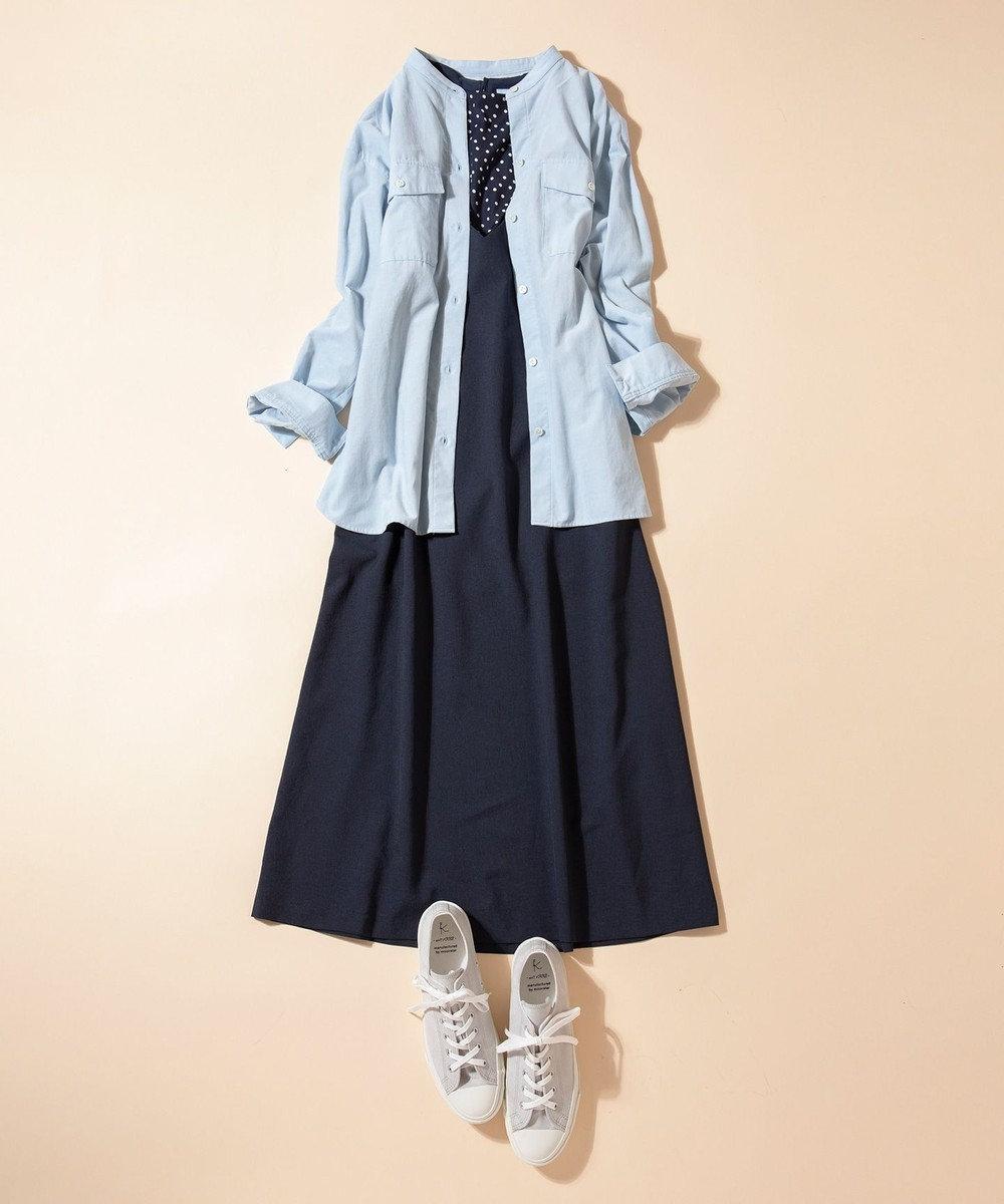 組曲 【洗える】コットンソフト コーデュロイ シャツ サックスブルー系