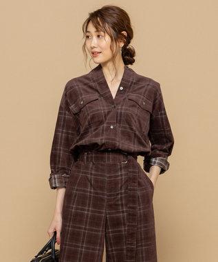 組曲 【洗える】コットンソフト コーデュロイ シャツ ワイン系3