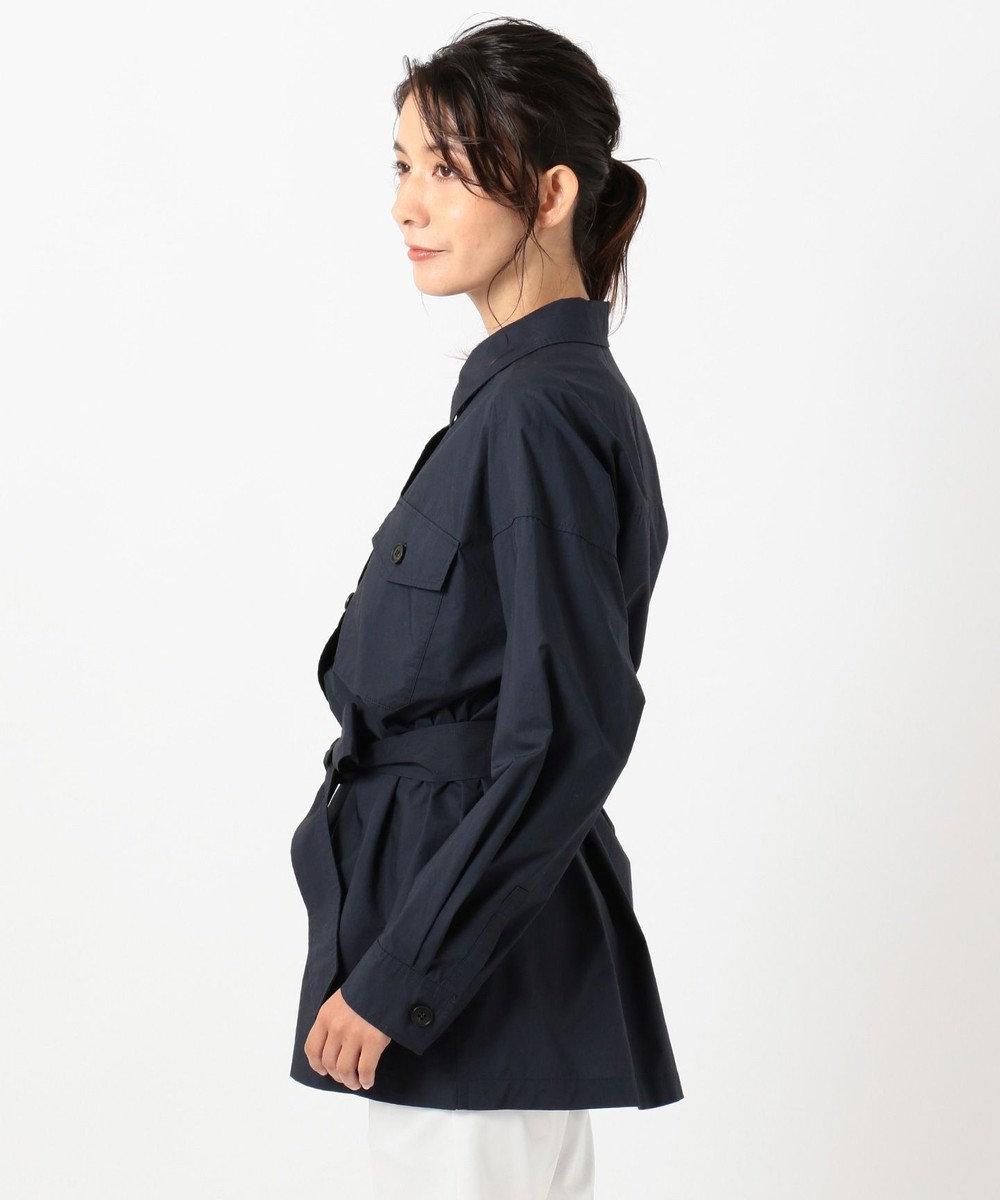 組曲 L 【洗える】コットンタイプライター ハオリシャツ ネイビー系
