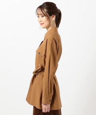 組曲 L 【洗える】コットンタイプライター ハオリシャツ キャメル系