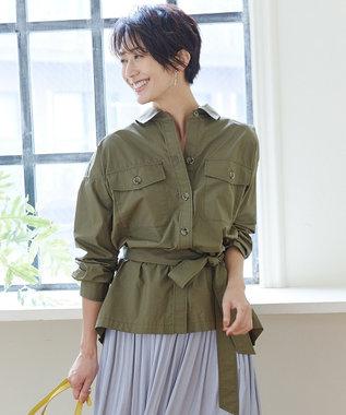組曲 L 【洗える】コットンタイプライター ハオリシャツ カーキ系