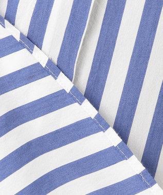 組曲 【洗える】レーヨンシルク ストライプ シャツ ブルー系1