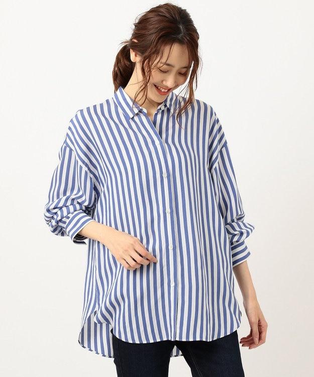 組曲 【洗える】レーヨンシルク ストライプ シャツ