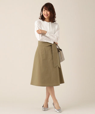 組曲 【洗える】100/1コンパクトツイル ノーカラーシャツ ホワイト系
