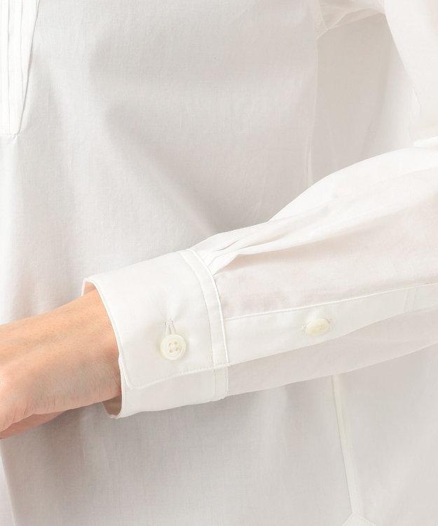 組曲 【洗える】100/1コンパクトツイル ノーカラーシャツ