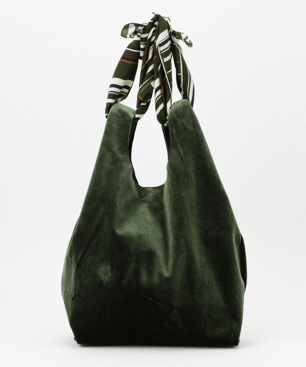 J.PRESS LADIES スカーフ付3WAYベロアバッグ グリーン系
