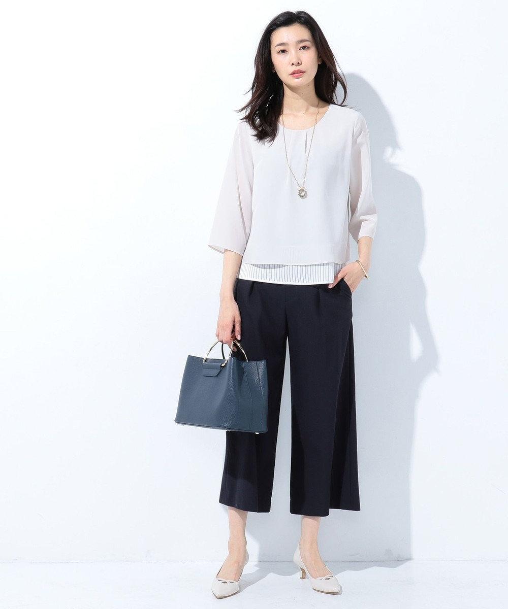 J.PRESS LADIES 【2way】3ポケットトートバッグ ネイビー系