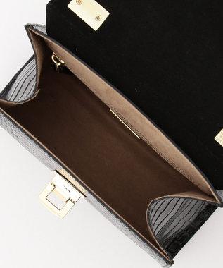 23区 【マガジン掲載】RAFFINATA クロコ型押しハンドバッグ(検索番号H78) ブラック系