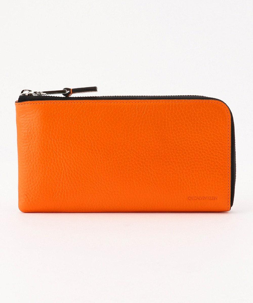 CK CALVIN KLEIN MEN 【大人気】ラップ レザースマートセルバッグ オレンジ系