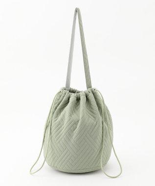 #Newans 【マガジン掲載】キルティングジャージー巾着バッグ(番号NF32) スモーキーグリーン系