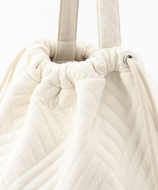 #Newans 【マガジン掲載】キルティングジャージー巾着バッグ(番号NF32) アイボリー系