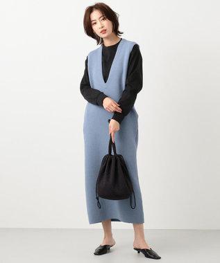 #Newans 【マガジン掲載】キルティングジャージー巾着バッグ(番号NF32) ブラック系