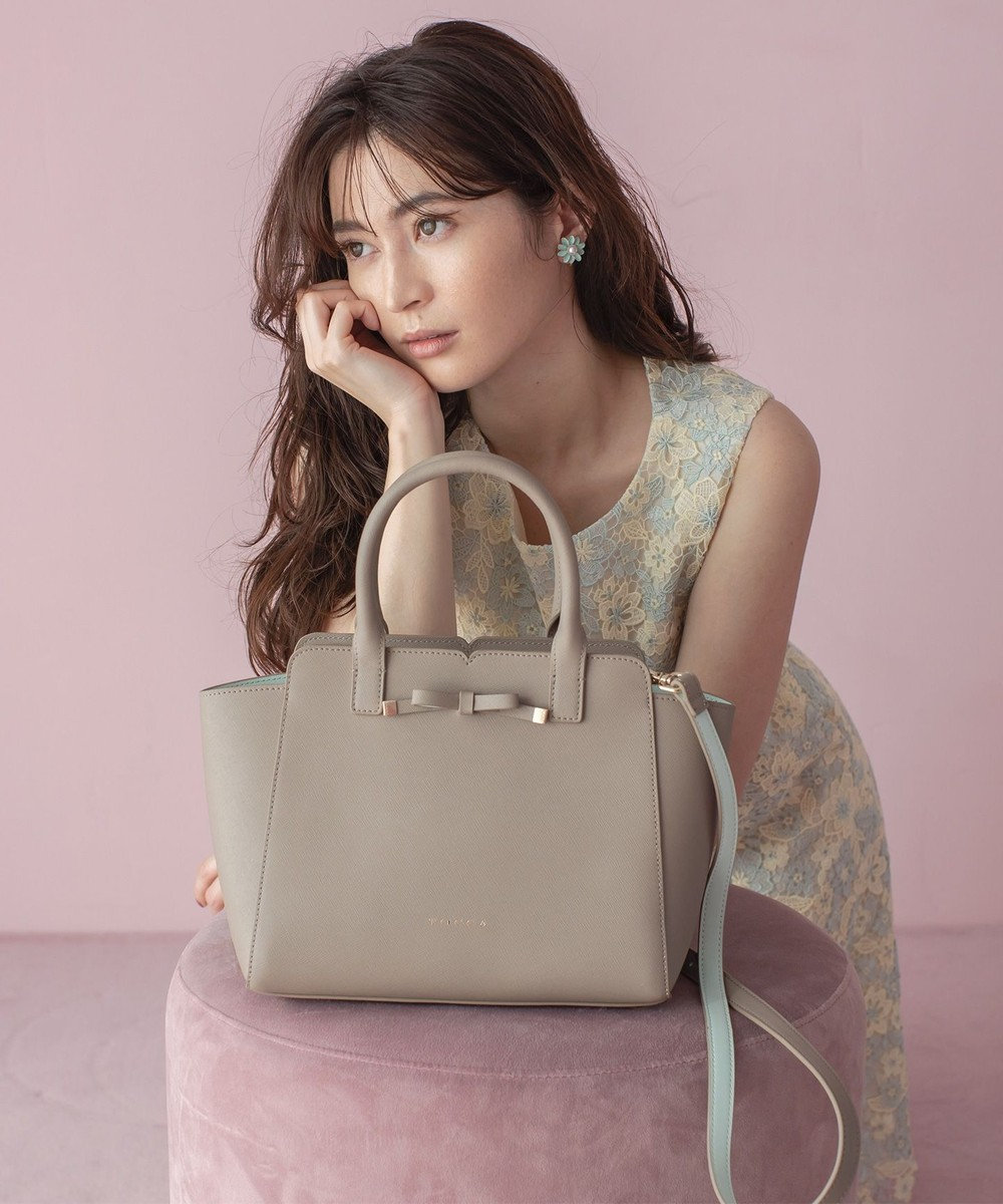 TOCCA TINY RIBBON LEATHER BAG レザーバッグ ブラウン系