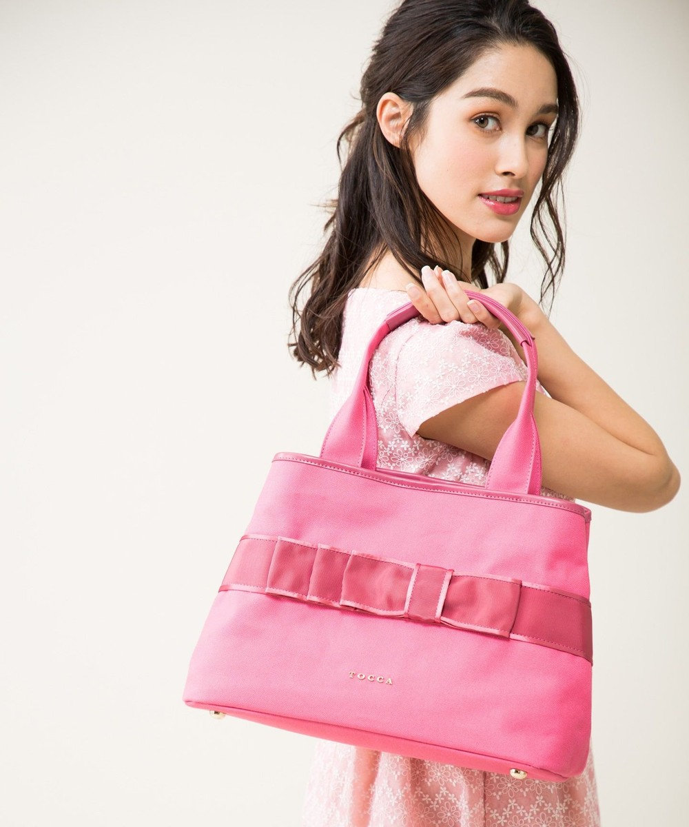 TOCCA 【一部店舗限定】RIBBON BOW CANVAS LARGE トートバッグ [限定]ピンク系