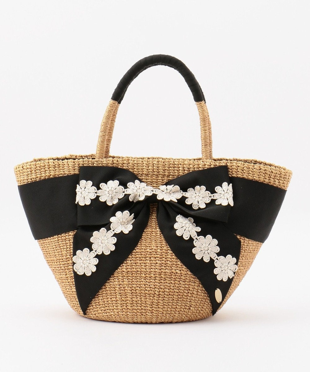 TOCCA LACE RIBBON WICKER TOTE かごバッグ ブラック系