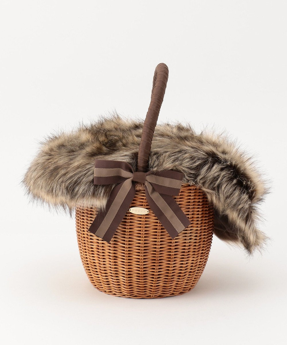 TOCCA FUR WICKER TOTE かごバッグ ブラウン系