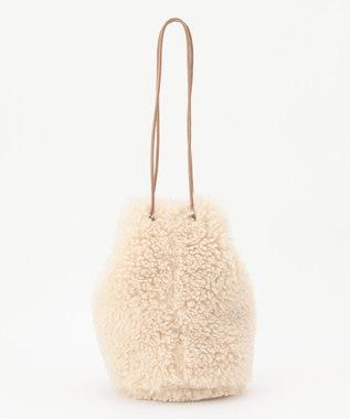 組曲 【WEB限定・リバーシブル対応】エコファー 巾着バッグ アイボリー系