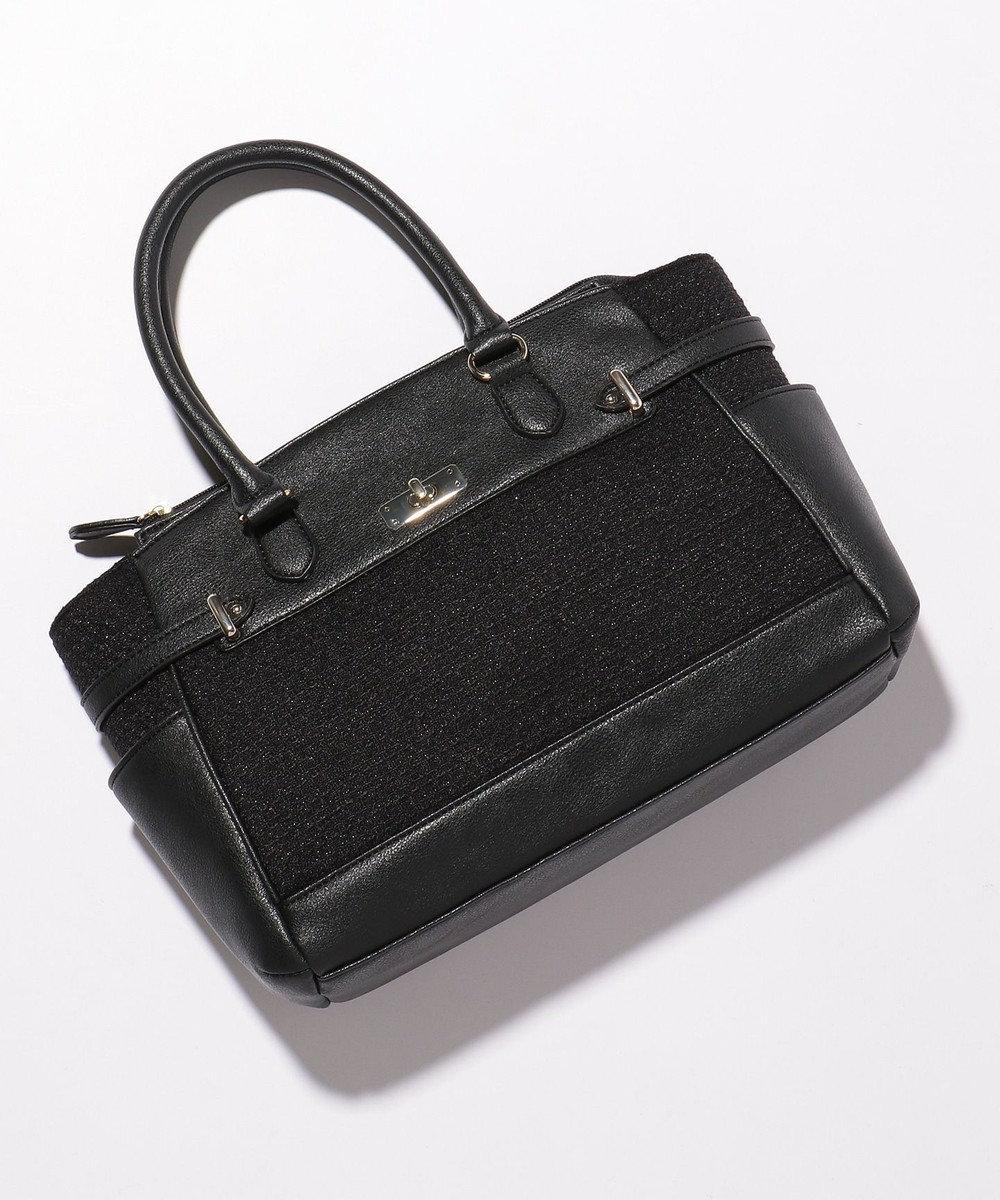any SiS 【素材連動】リップルボーダーストレッチ ハンドバッグ ブラック系